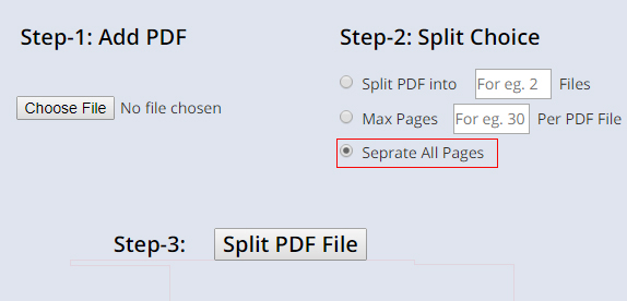 seperate all pages of pdf